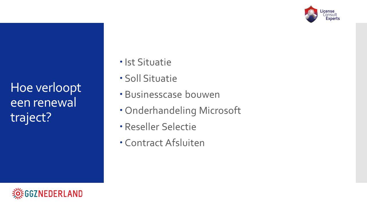 Hoe verloopt een renewal traject?  Ist Situatie  Soll Situatie  Businesscase bouwen  Onderhandeling Microsoft  Reseller Selectie  Contract Afslu