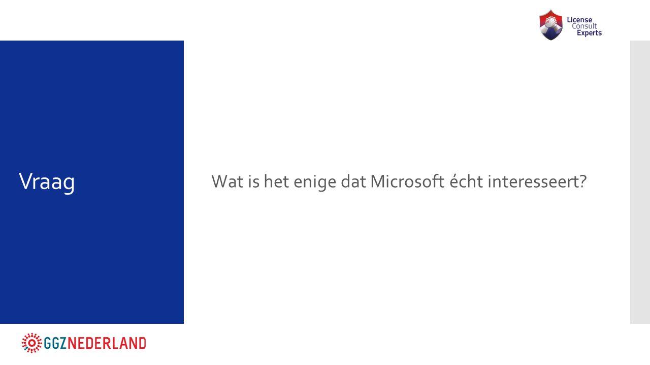 Vraag Wat is het enige dat Microsoft écht interesseert?