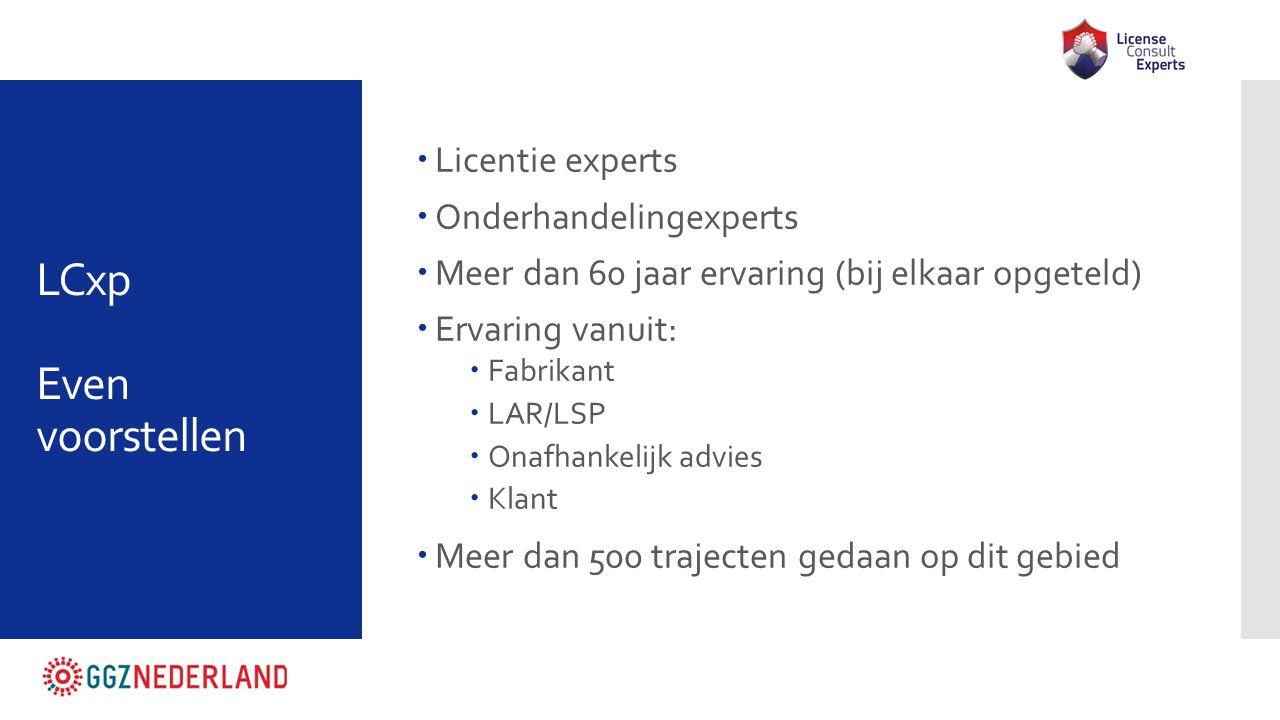 LCxp Even voorstellen  Licentie experts  Onderhandelingexperts  Meer dan 60 jaar ervaring (bij elkaar opgeteld)  Ervaring vanuit:  Fabrikant  LA