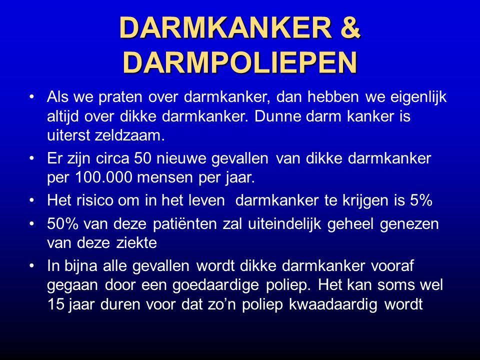 DARMKANKER & DARMPOLIEPEN Als we praten over darmkanker, dan hebben we eigenlijk altijd over dikke darmkanker. Dunne darm kanker is uiterst zeldzaam.