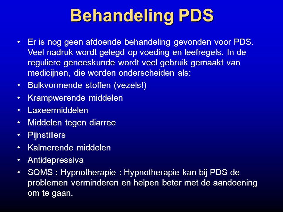 Behandeling PDS Er is nog geen afdoende behandeling gevonden voor PDS. Veel nadruk wordt gelegd op voeding en leefregels. In de reguliere geneeskunde