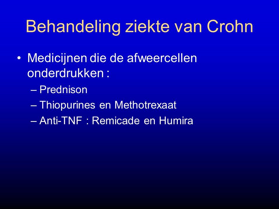 Behandeling ziekte van Crohn Medicijnen die de afweercellen onderdrukken : –Prednison –Thiopurines en Methotrexaat –Anti-TNF : Remicade en Humira