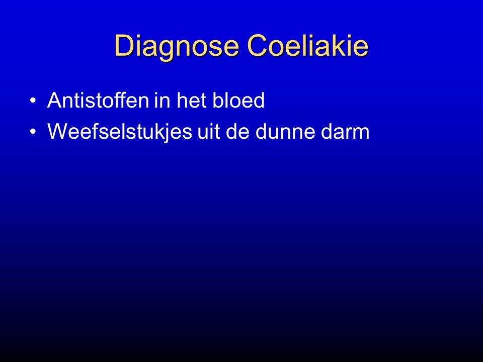 Diagnose Coeliakie Antistoffen in het bloed Weefselstukjes uit de dunne darm