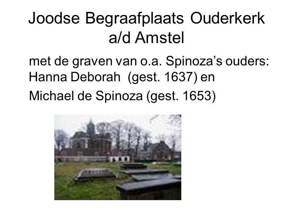Joodse Begraafplaats Ouderkerk a/d Amstel met de graven van o.a. Spinoza's ouders: Hanna Deborah (gest. 1637) en Michael de Spinoza (gest. 1653)