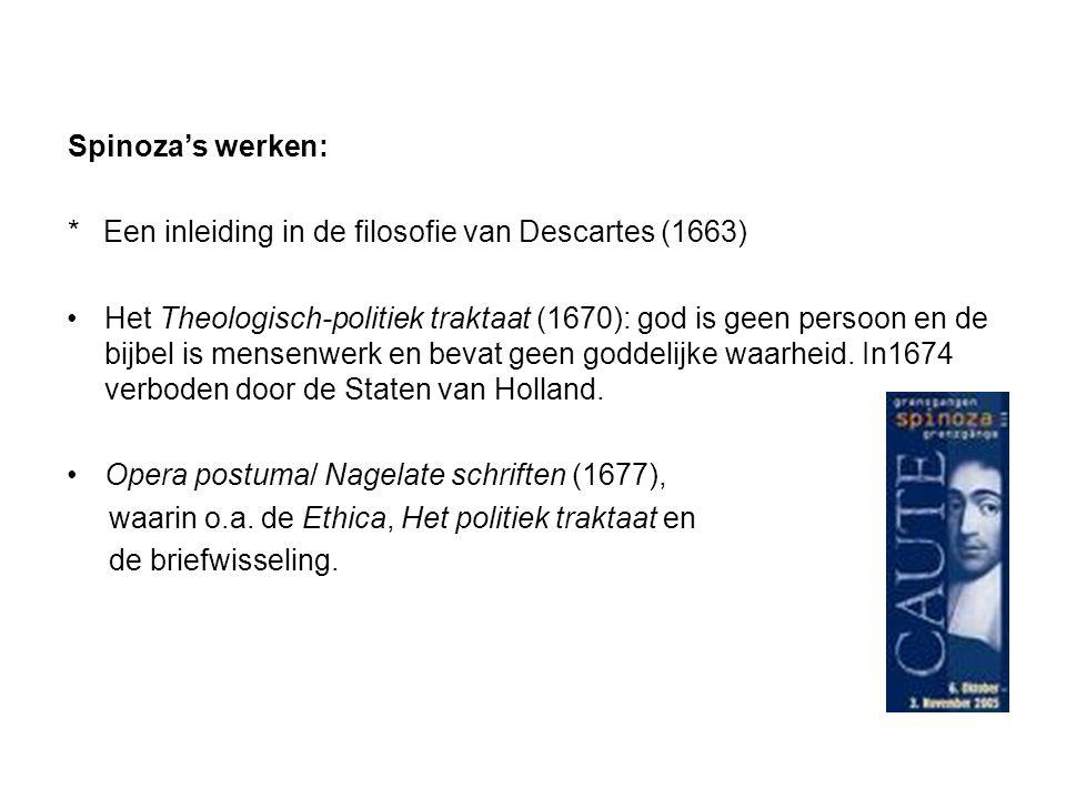 Spinoza's werken: * Een inleiding in de filosofie van Descartes (1663) Het Theologisch-politiek traktaat (1670): god is geen persoon en de bijbel is m
