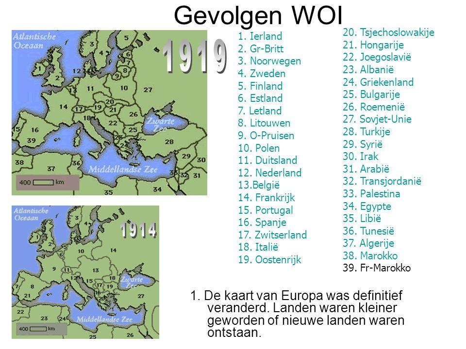 1. De kaart van Europa was definitief veranderd. Landen waren kleiner geworden of nieuwe landen waren ontstaan. 20. Tsjechoslowakije 21. Hongarije 22.