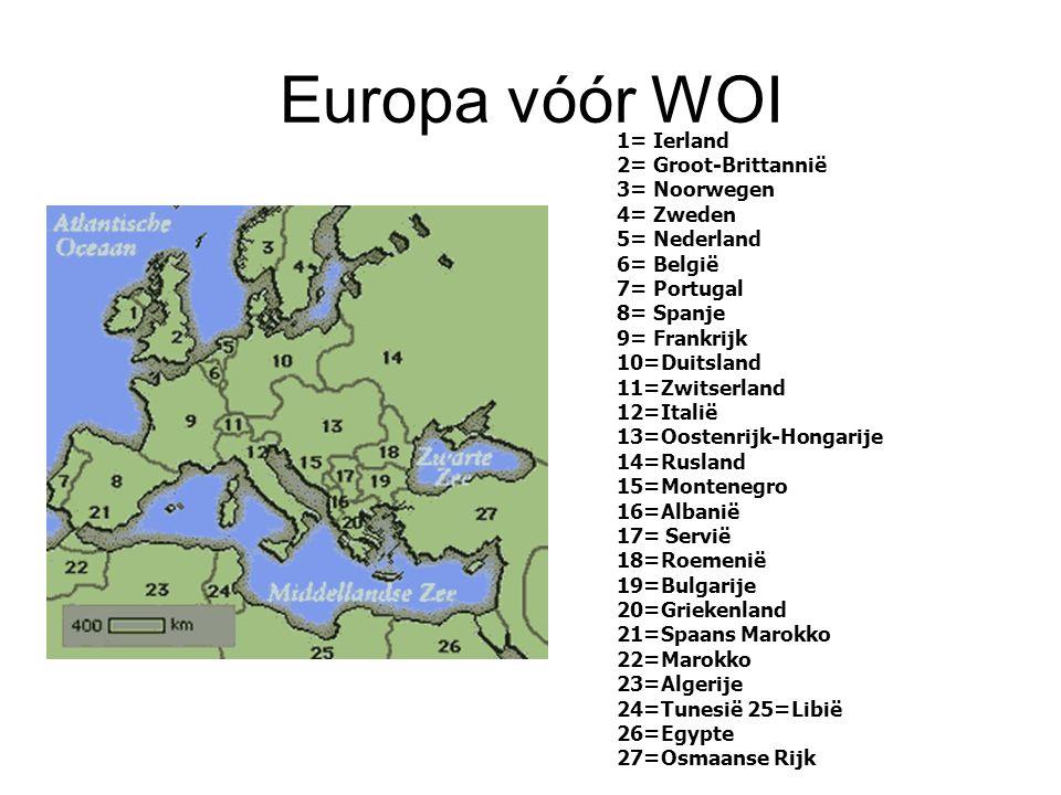 Europa vóór WOI 1= Ierland 2= Groot-Brittannië 3= Noorwegen 4= Zweden 5= Nederland 6= België 7= Portugal 8= Spanje 9= Frankrijk 10=Duitsland 11=Zwitse