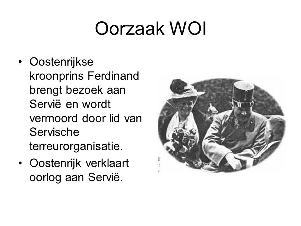 Oorzaak WOI Oostenrijkse kroonprins Ferdinand brengt bezoek aan Servië en wordt vermoord door lid van Servische terreurorganisatie. Oostenrijk verklaa