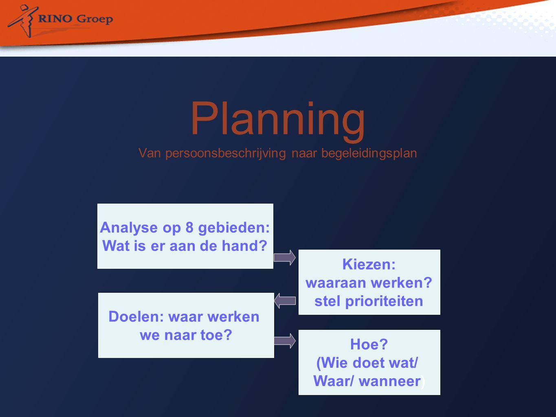 Planning Van persoonsbeschrijving naar begeleidingsplan Kiezen: waaraan werken.