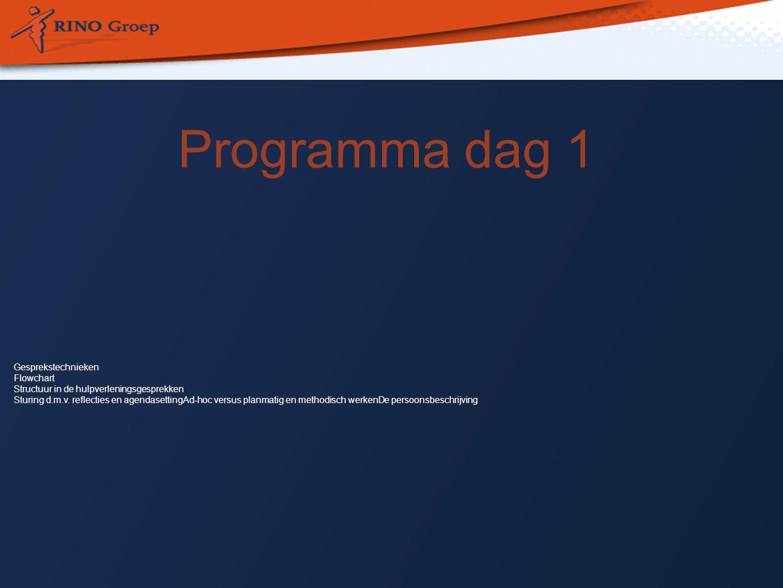 Programma dag 1 Gesprekstechnieken Flowchart Structuur in de hulpverleningsgesprekken Sturing d.m.v.