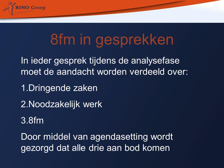 8fm in gesprekken In ieder gesprek tijdens de analysefase moet de aandacht worden verdeeld over: 1.