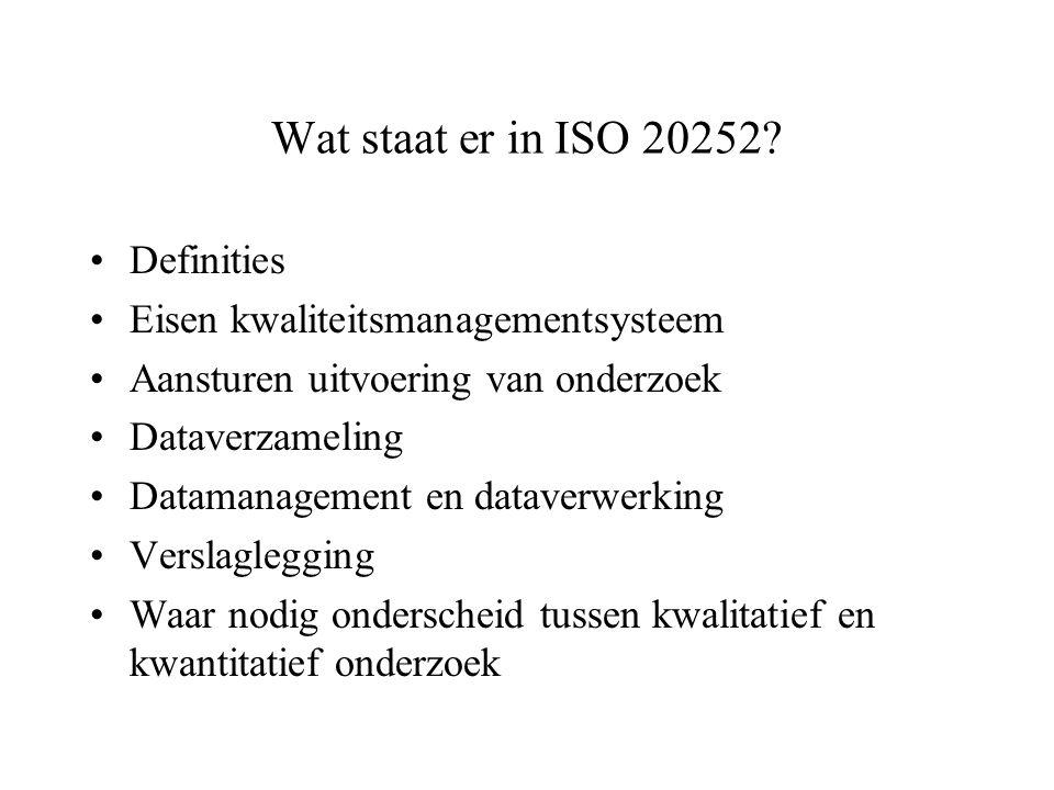 Wat staat er in ISO 20252? Definities Eisen kwaliteitsmanagementsysteem Aansturen uitvoering van onderzoek Dataverzameling Datamanagement en dataverwe