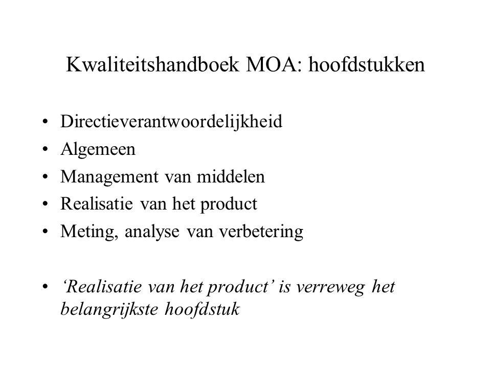 Kwaliteitshandboek MOA: hoofdstukken Directieverantwoordelijkheid Algemeen Management van middelen Realisatie van het product Meting, analyse van verb