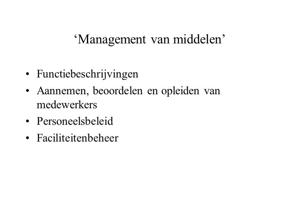 'Management van middelen' Functiebeschrijvingen Aannemen, beoordelen en opleiden van medewerkers Personeelsbeleid Faciliteitenbeheer