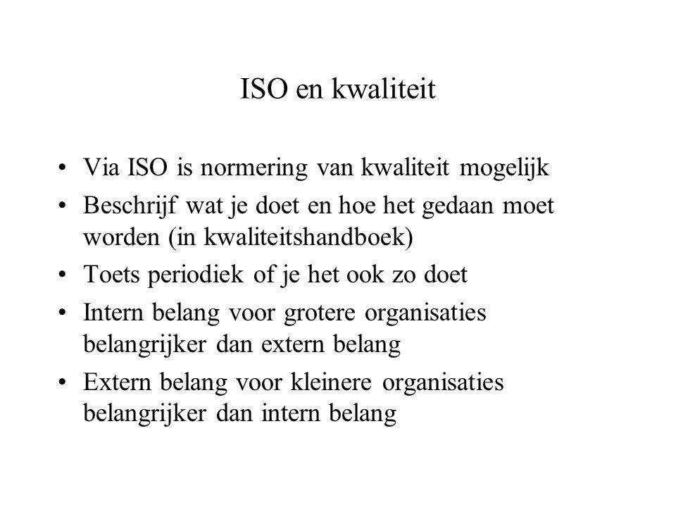 ISO en kwaliteit Via ISO is normering van kwaliteit mogelijk Beschrijf wat je doet en hoe het gedaan moet worden (in kwaliteitshandboek) Toets periodi