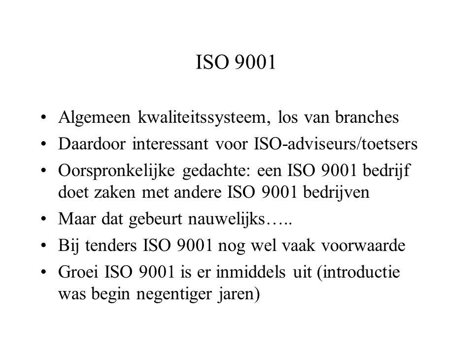 ISO 9001 Algemeen kwaliteitssysteem, los van branches Daardoor interessant voor ISO-adviseurs/toetsers Oorspronkelijke gedachte: een ISO 9001 bedrijf