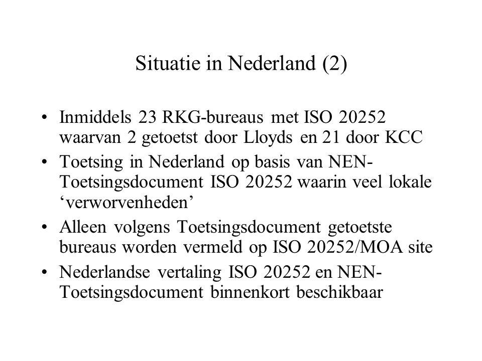 NEN Toetsingsdocument ISO 20252 Basisopzet door MOA en RKG Specificeert ISO 20252 normen (bijvoorbeeld toepassing Gouden Standaard en Infofilter) Beschrijft frequentie en wijze van toetsing Geeft major non-conformiteiten aan Geeft kwalificaties van toetsers aan (moeten o.a.