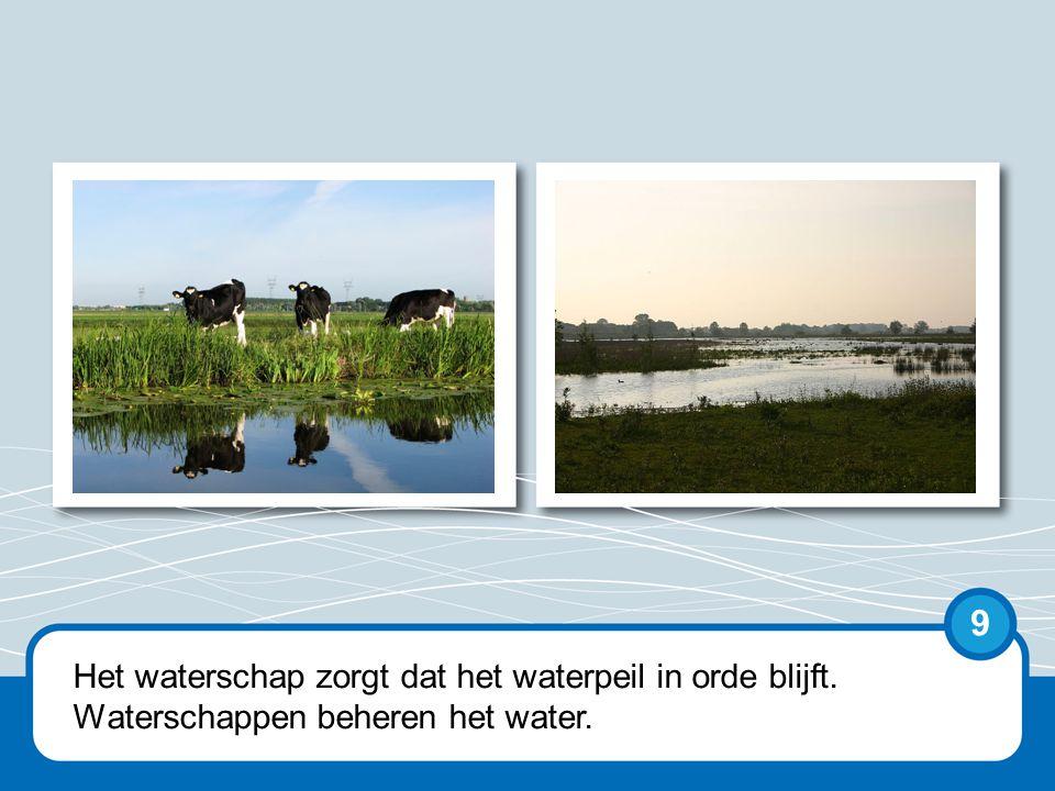 Het waterschap zorgt dat het waterpeil in orde blijft. Waterschappen beheren het water. 9