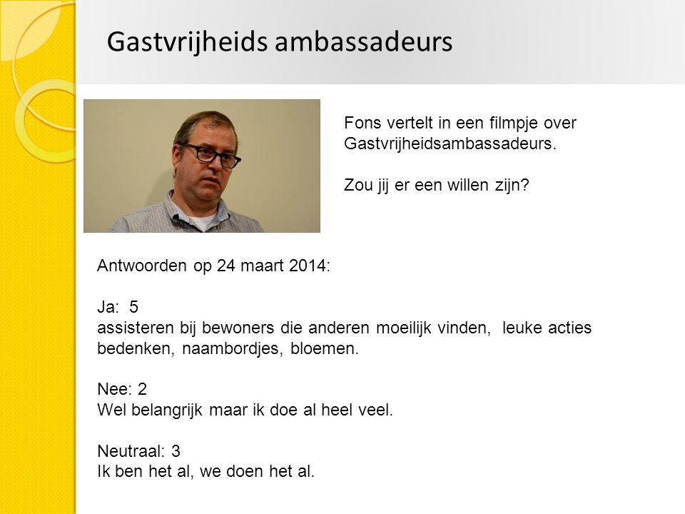 Gastvrijheids ambassadeurs Fons vertelt in een filmpje over Gastvrijheidsambassadeurs. Zou jij er een willen zijn? Antwoorden op 24 maart 2014: Ja: 5