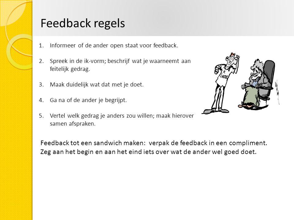 Feedback regels 1.Informeer of de ander open staat voor feedback. 2.Spreek in de ik-vorm; beschrijf wat je waarneemt aan feitelijk gedrag. 3.Maak duid