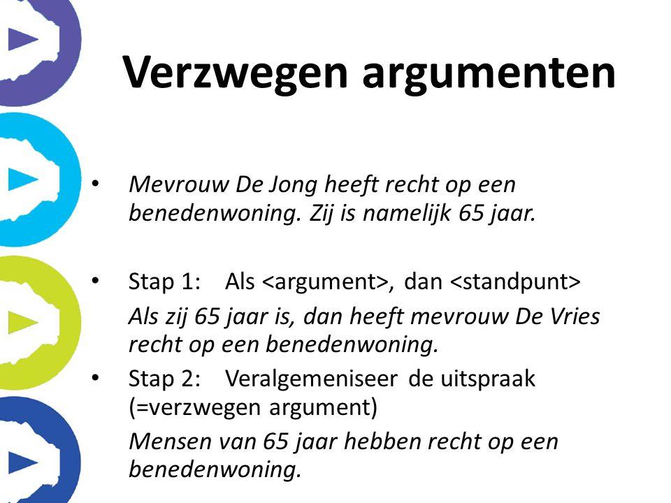 Mevrouw De Jong heeft recht op een benedenwoning. Zij is namelijk 65 jaar. Stap 1:Als, dan Als zij 65 jaar is, dan heeft mevrouw De Vries recht op een