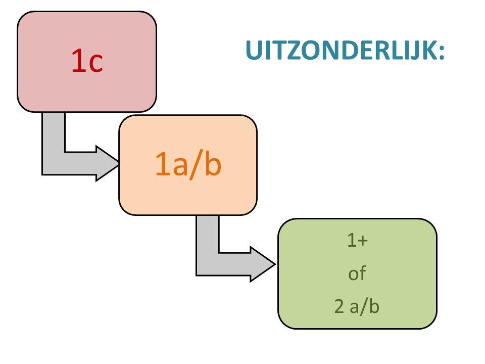 1c 1a/b 1+ of 2 a/b UITZONDERLIJK: