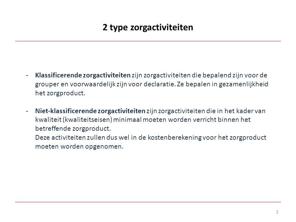 2 type zorgactiviteiten 2 -Klassificerende zorgactiviteiten zijn zorgactiviteiten die bepalend zijn voor de grouper en voorwaardelijk zijn voor declar