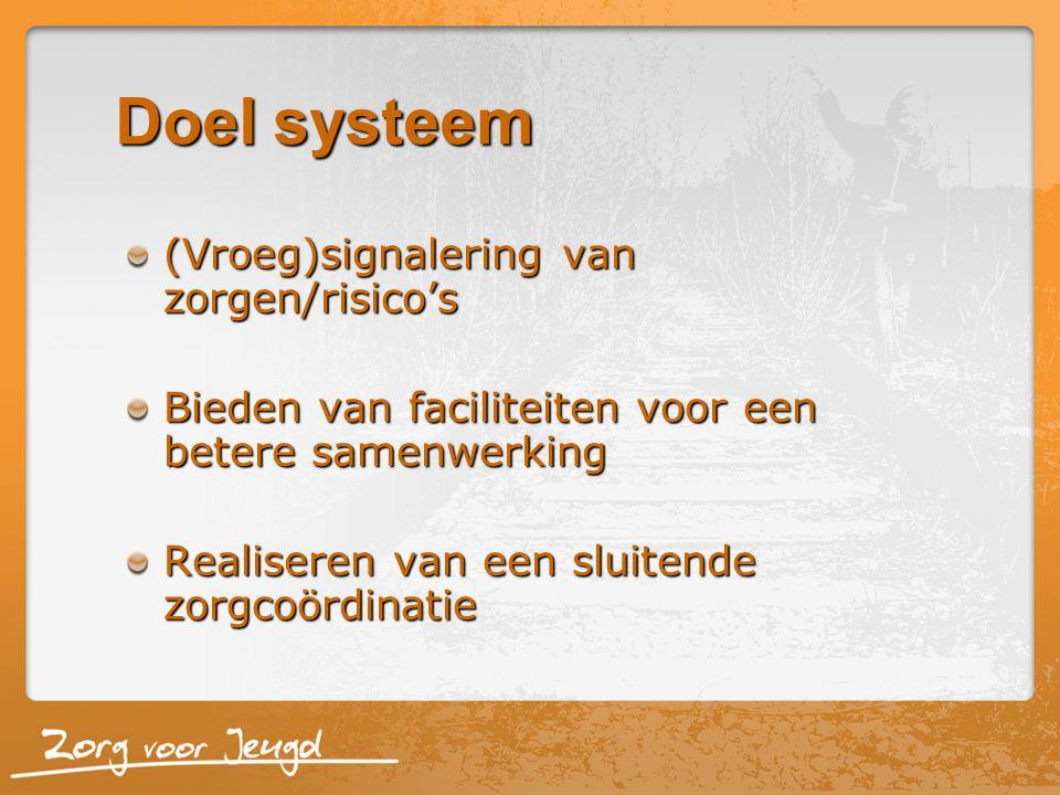 Doel systeem (Vroeg)signalering van zorgen/risico's Bieden van faciliteiten voor een betere samenwerking Realiseren van een sluitende zorgcoördinatie