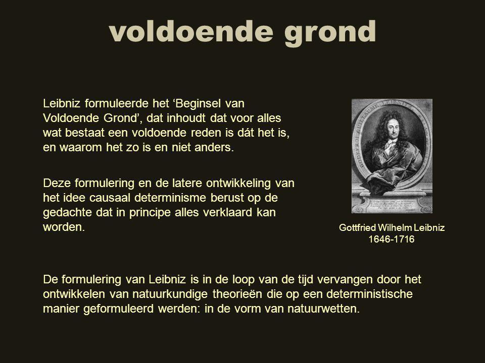 voldoende grond Leibniz formuleerde het 'Beginsel van Voldoende Grond', dat inhoudt dat voor alles wat bestaat een voldoende reden is dát het is, en waarom het zo is en niet anders.