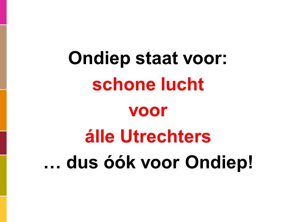 Ondiep staat voor: schone lucht voor álle Utrechters … dus óók voor Ondiep!
