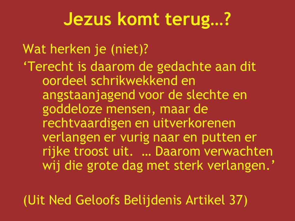 Jezus komt terug…? Wat herken je (niet)? 'Terecht is daarom de gedachte aan dit oordeel schrikwekkend en angstaanjagend voor de slechte en goddeloze m