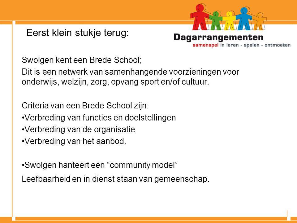 Eerst klein stukje terug: Swolgen kent een Brede School; Dit is een netwerk van samenhangende voorzieningen voor onderwijs, welzijn, zorg, opvang sport en/of cultuur.