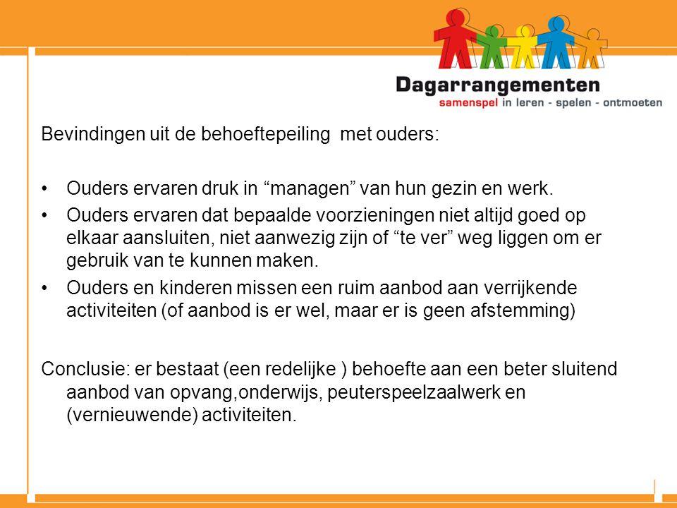 Bevindingen uit de behoeftepeiling met ouders: Ouders ervaren druk in managen van hun gezin en werk.