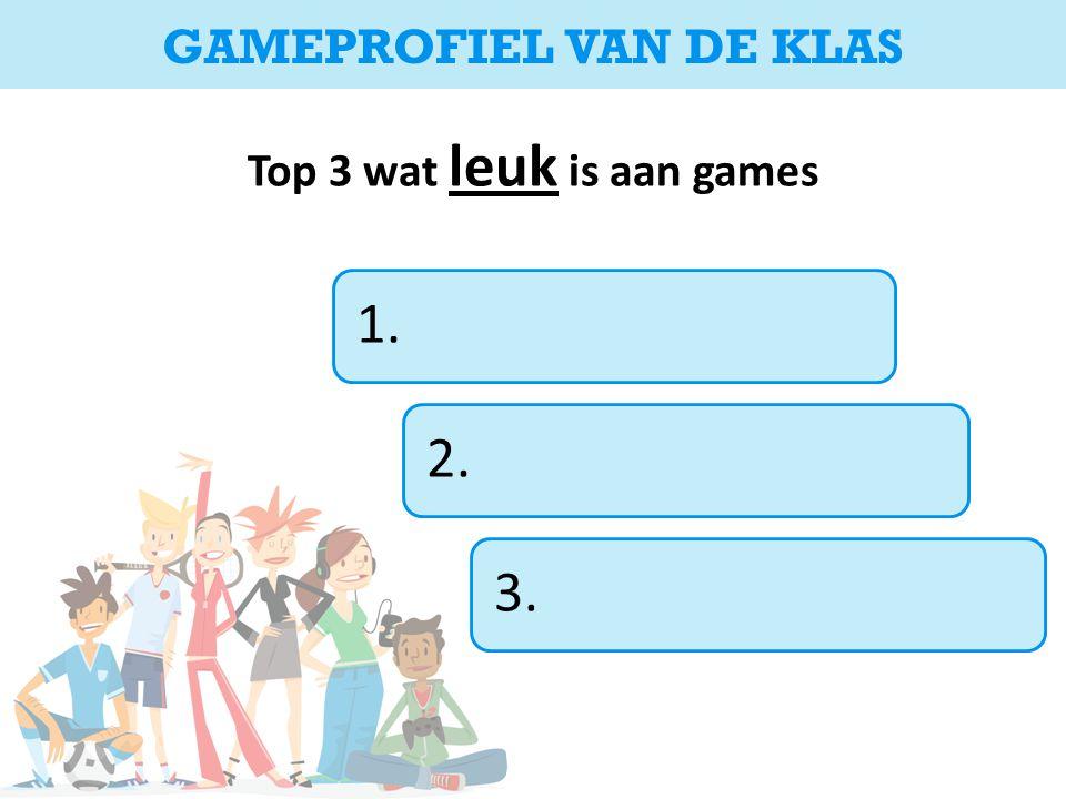 Top 3 wat leuk is aan games 1.2.3. GAMEPROFIEL VAN DE KLAS