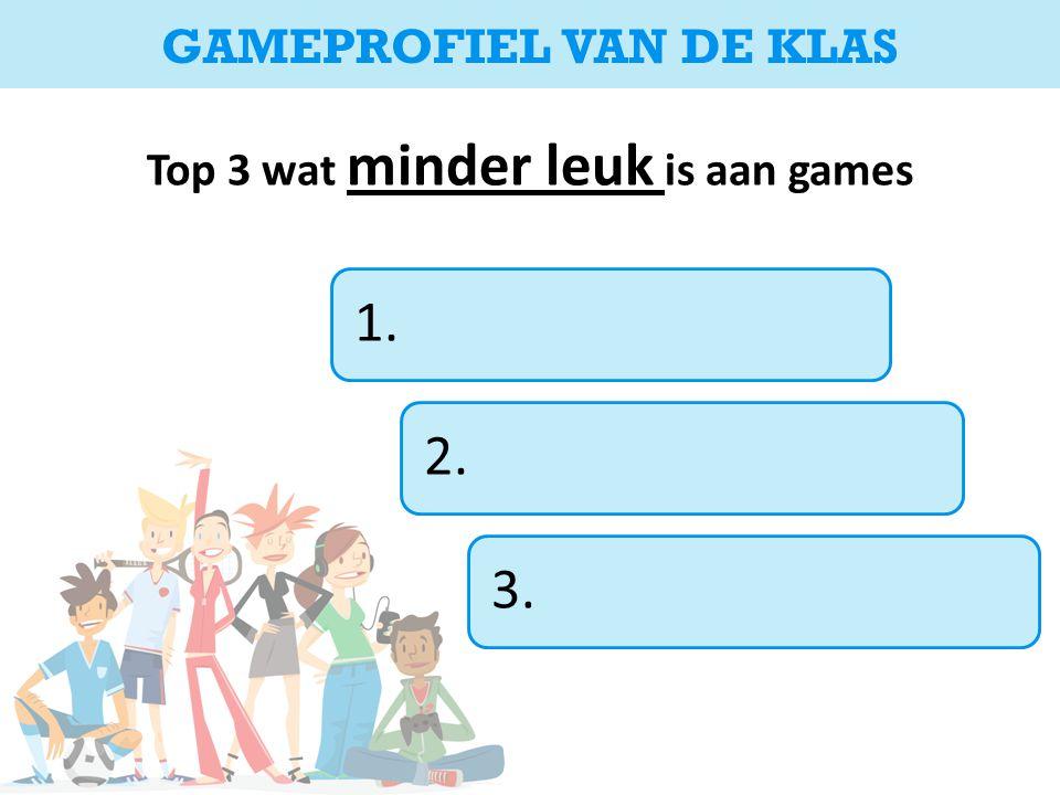 Top 3 wat minder leuk is aan games 1.2.3. GAMEPROFIEL VAN DE KLAS