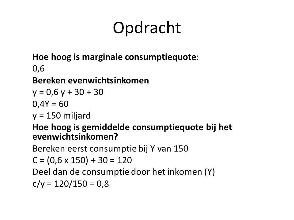 Opdracht Hoe hoog is marginale consumptiequote: 0,6 Bereken evenwichtsinkomen y = 0,6 y + 30 + 30 0,4Y = 60 y = 150 miljard Hoe hoog is gemiddelde con