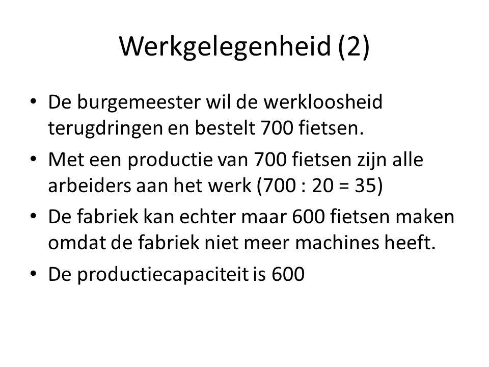 Werkgelegenheid (2) De burgemeester wil de werkloosheid terugdringen en bestelt 700 fietsen. Met een productie van 700 fietsen zijn alle arbeiders aan