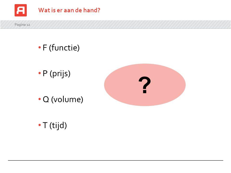 Pagina 12 Wat is er aan de hand? F (functie) P (prijs) Q (volume) T (tijd) ?