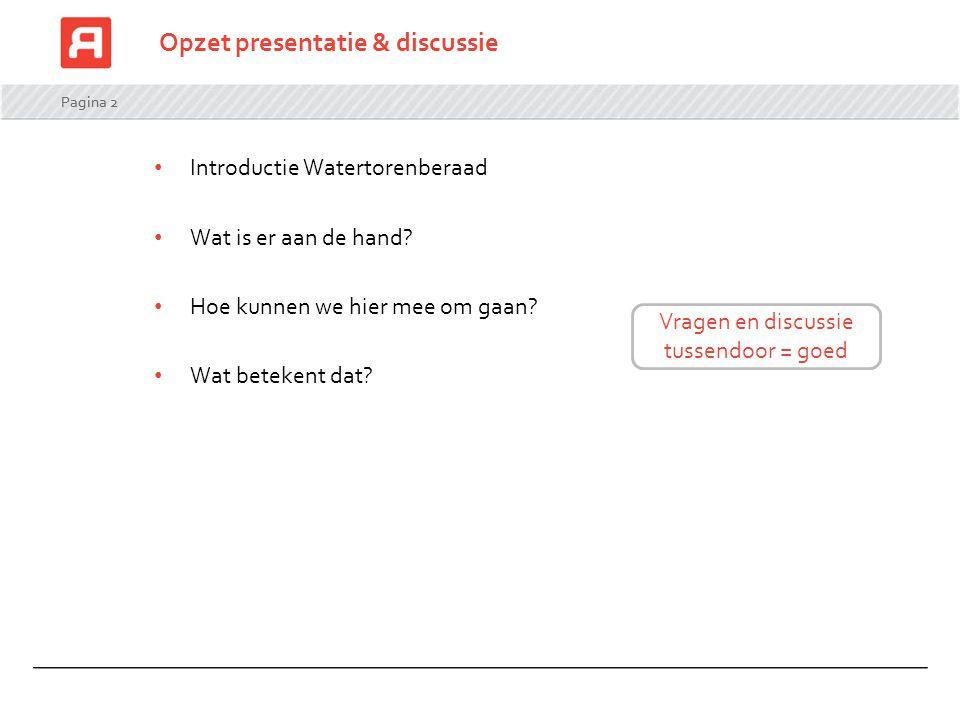 Pagina 2 Opzet presentatie & discussie Introductie Watertorenberaad Wat is er aan de hand? Hoe kunnen we hier mee om gaan? Wat betekent dat? Vragen en