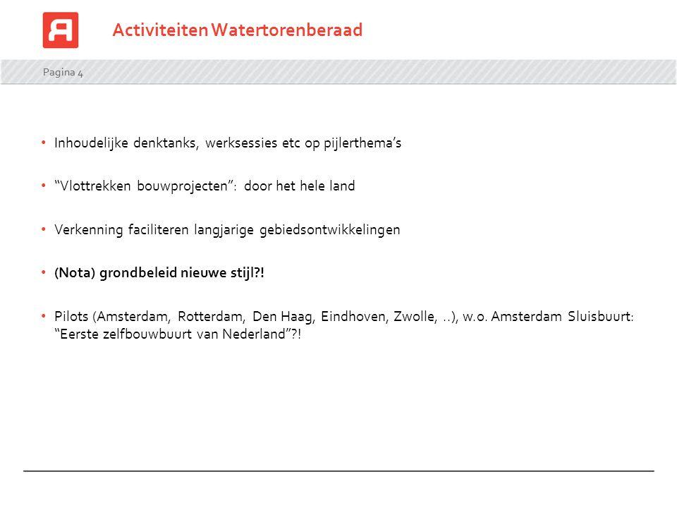 """Pagina 4 Activiteiten Watertorenberaad Inhoudelijke denktanks, werksessies etc op pijlerthema's """"Vlottrekken bouwprojecten"""": door het hele land Verken"""