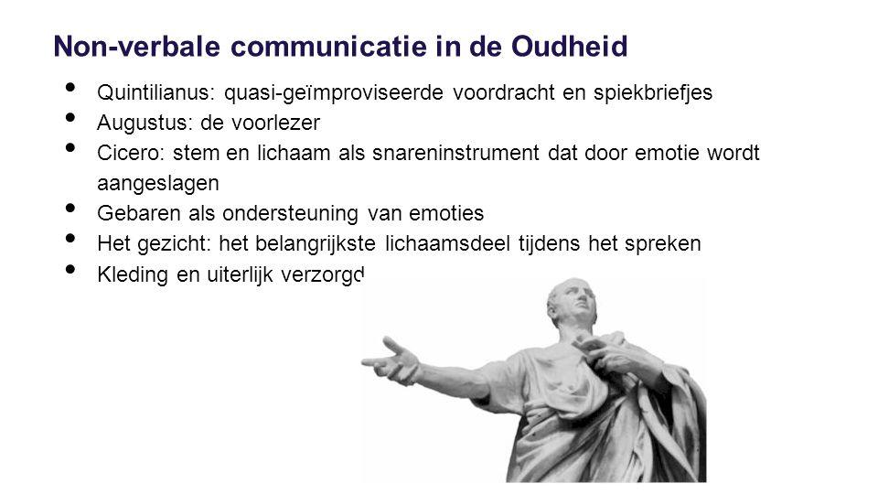 Non-verbale communicatie in de Oudheid Quintilianus: quasi-geïmproviseerde voordracht en spiekbriefjes Augustus: de voorlezer Cicero: stem en lichaam