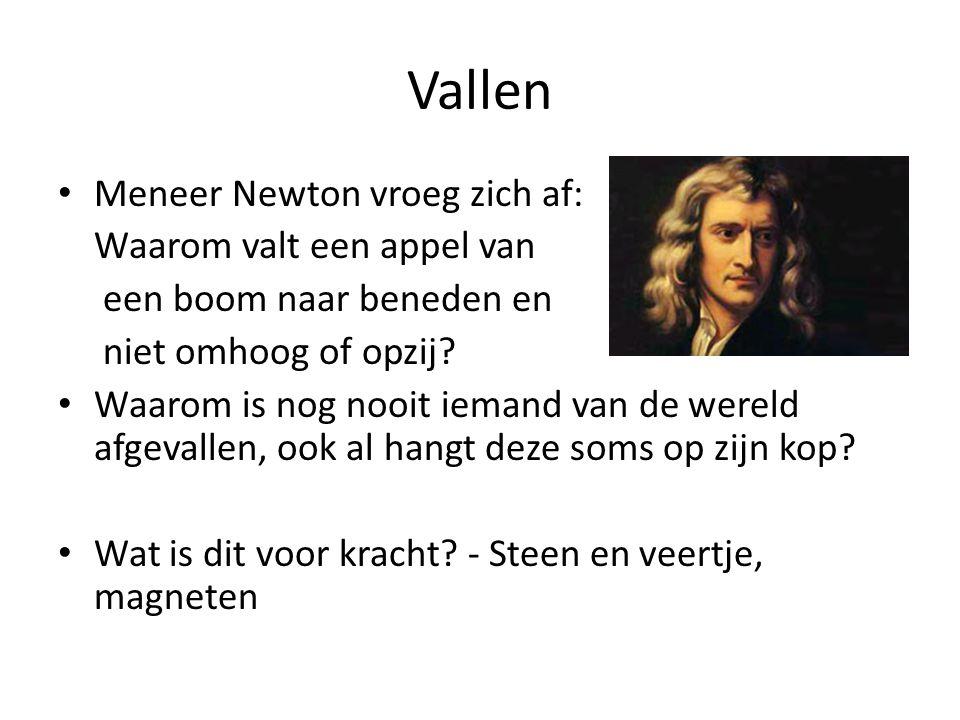 Vallen Meneer Newton vroeg zich af: Waarom valt een appel van een boom naar beneden en niet omhoog of opzij? Waarom is nog nooit iemand van de wereld