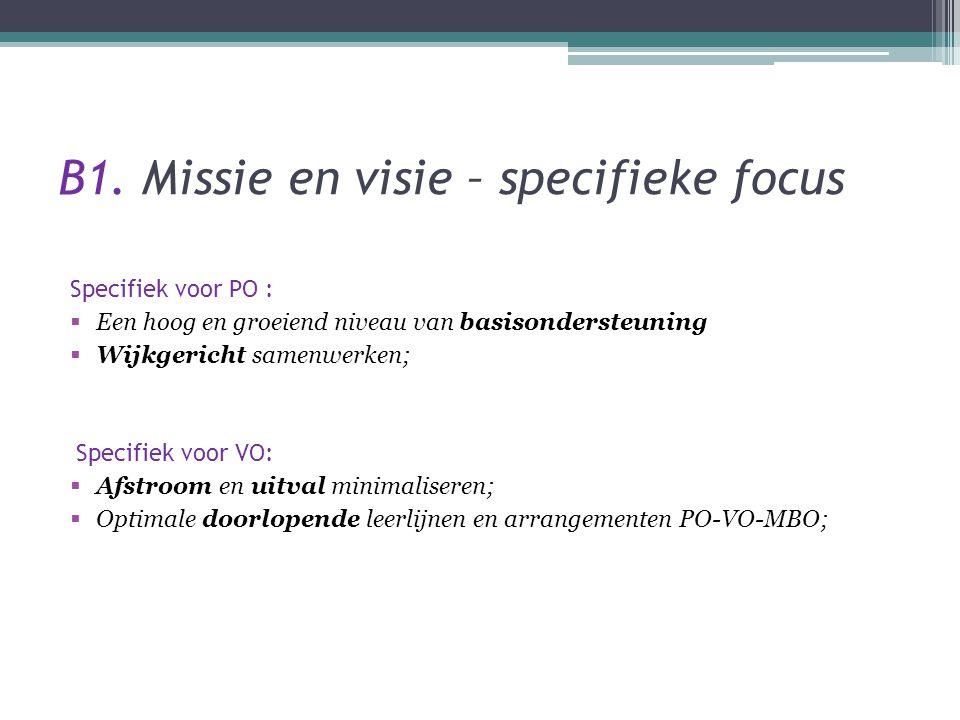 B1. Missie en visie – specifieke focus Specifiek voor PO :  Een hoog en groeiend niveau van basisondersteuning  Wijkgericht samenwerken; Specifiek v