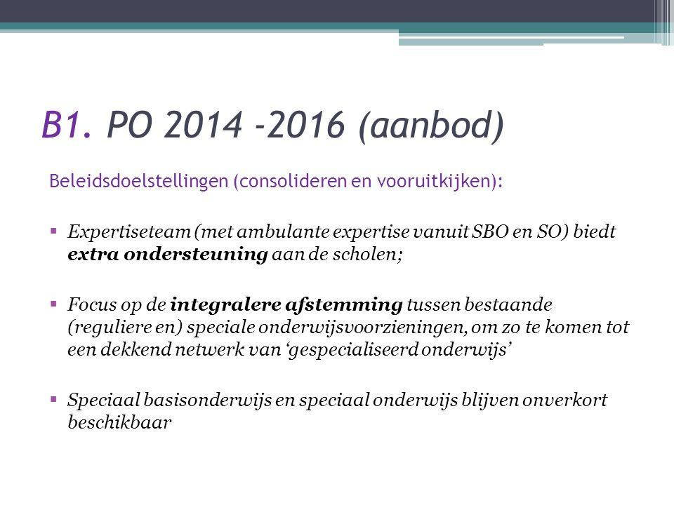 B1. PO 2014 -2016 (aanbod) Beleidsdoelstellingen (consolideren en vooruitkijken):  Expertiseteam (met ambulante expertise vanuit SBO en SO) biedt ext