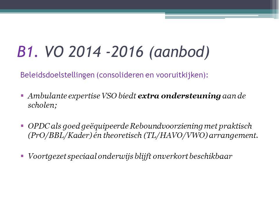 B1. VO 2014 -2016 (aanbod) Beleidsdoelstellingen (consolideren en vooruitkijken):  Ambulante expertise VSO biedt extra ondersteuning aan de scholen;