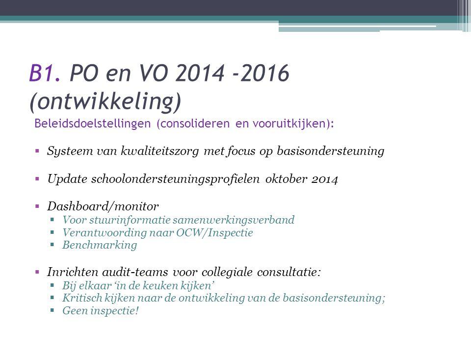 B1. PO en VO 2014 -2016 (ontwikkeling) Beleidsdoelstellingen (consolideren en vooruitkijken):  Systeem van kwaliteitszorg met focus op basisondersteu
