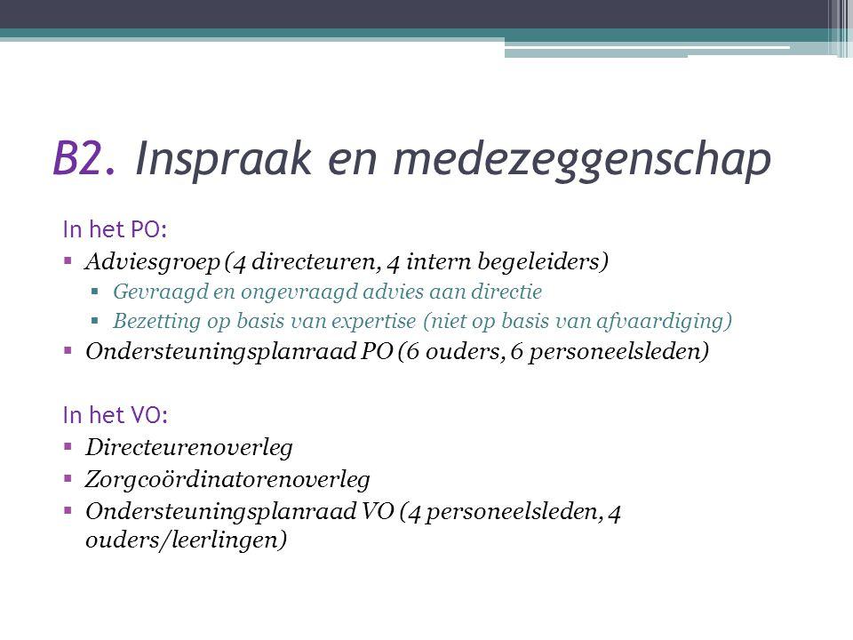 B2. Inspraak en medezeggenschap In het PO:  Adviesgroep (4 directeuren, 4 intern begeleiders)  Gevraagd en ongevraagd advies aan directie  Bezettin