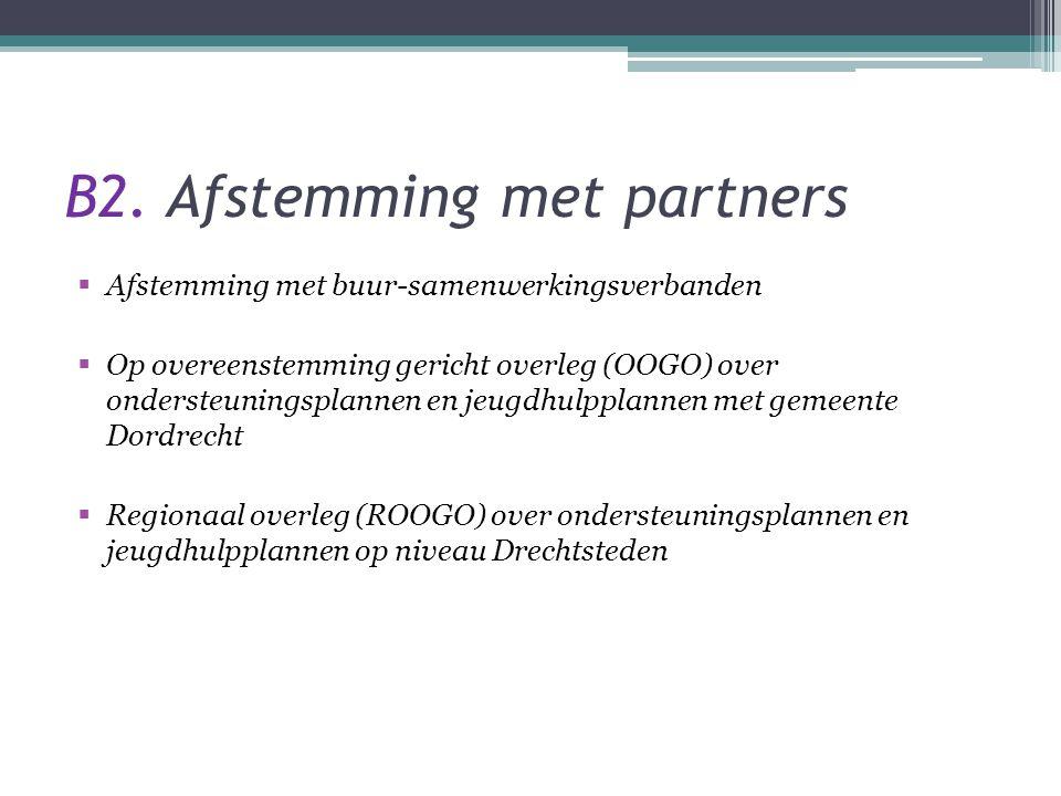 B2. Afstemming met partners  Afstemming met buur-samenwerkingsverbanden  Op overeenstemming gericht overleg (OOGO) over ondersteuningsplannen en jeu