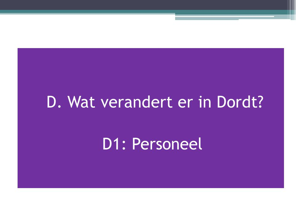 D. Wat verandert er in Dordt? D1: Personeel