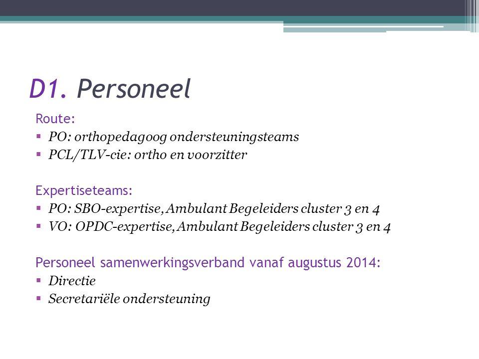 D1. Personeel Route:  PO: orthopedagoog ondersteuningsteams  PCL/TLV-cie: ortho en voorzitter Expertiseteams:  PO: SBO-expertise, Ambulant Begeleid